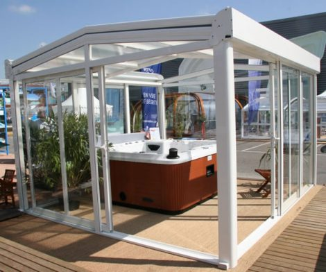 glass hot tub enclosure