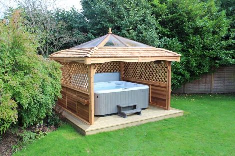 hot tub outdoor wooden enclosures