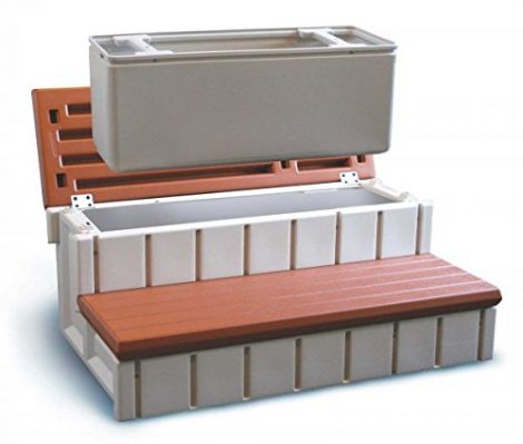 hot tub steps with storage compartment