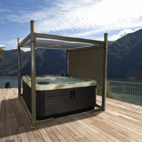 hot tub with enclosure