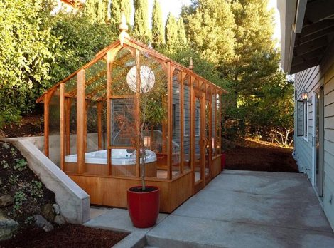 hot tub wooden and glass enclosures