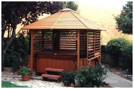 Wooden Spa Enclosure with Slanted Roof