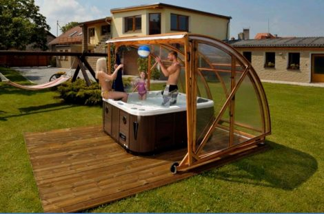 Wooden Frame Enclosure for Hot Tubs