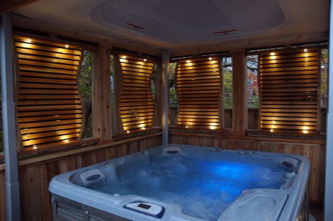Privacy-Friendly Wooden Hot Tub Enclosure