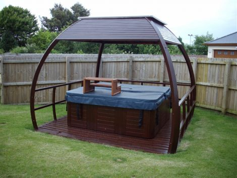 outdoor wooden enclosures for hot tub