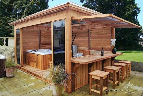wood enclosure for hot tub